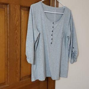 Sonoma Large gray 3/4  sleeve top, nice